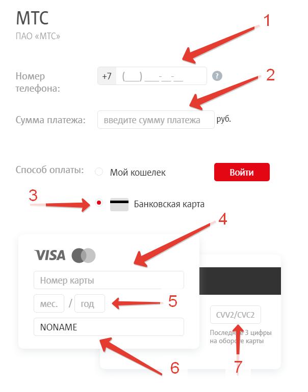 Пополнить счёт МТС с банковской карты